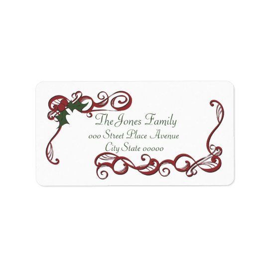 Swirls and Holly Label
