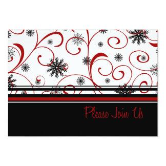 Swirls and Snow Christmas Dinner Invitation Card