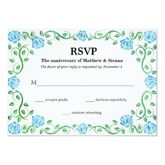Swirls aqua roses 13 cm x 18 cm invitation card