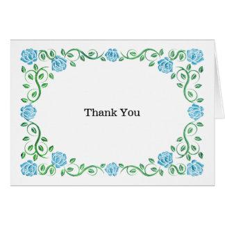 Swirls aqua roses greeting card