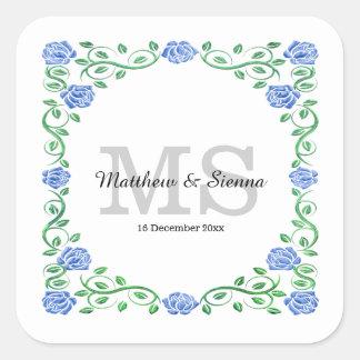 Swirls blue roses square sticker