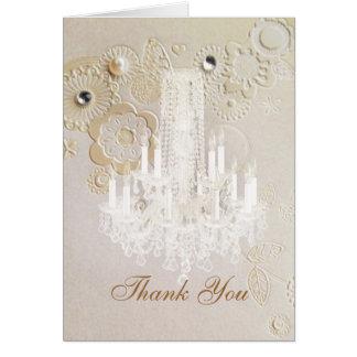 swirls chandelier vintage wedding thank you card