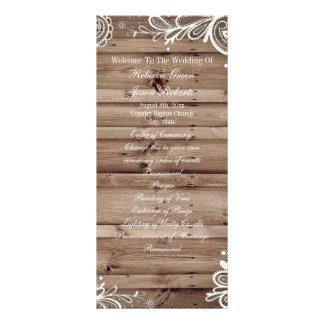swirls lace barn wood country wedding program custom rack card