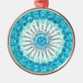 Swirls Ocean Blues Kaleidoscope Christmas Ornament