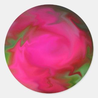 Swirls of Rose Round Sticker