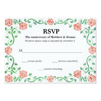 Swirls orange roses 13 cm x 18 cm invitation card
