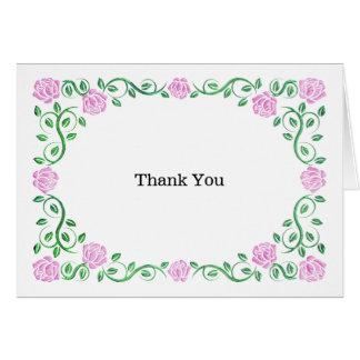 Swirls pink roses greeting card