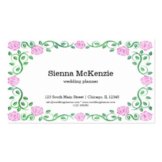 Swirls pink roses pack of standard business cards