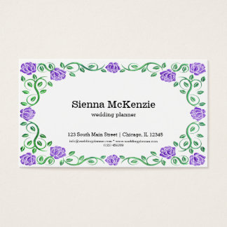 Swirls purple roses business card