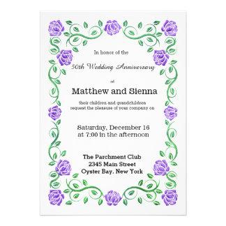 Swirls purple roses personalized invitation