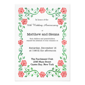 Swirls red roses personalized invitations