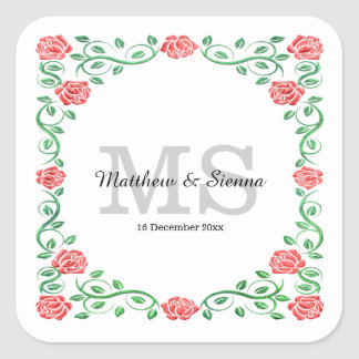 Swirls red roses square sticker