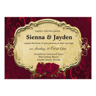 Swirls Roses Personalized Invitations