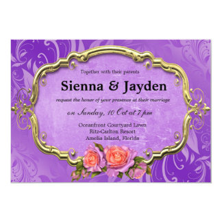 Swirls Roses 13 Cm X 18 Cm Invitation Card