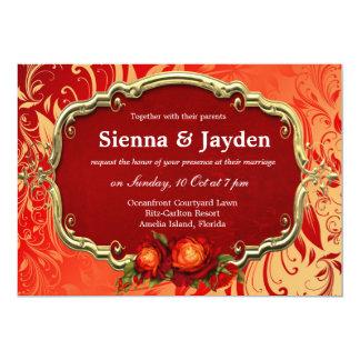 Swirls Roses Custom Invites