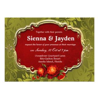 Swirls Roses Personalized Invites