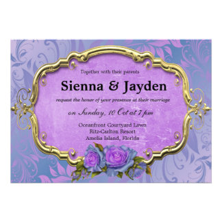 Swirls Roses Personalized Announcement