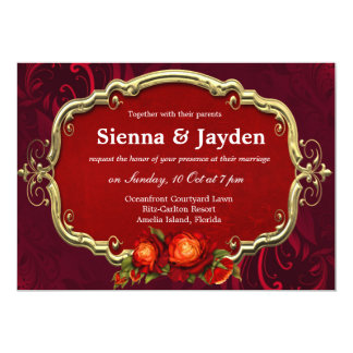 Swirls Roses Custom Invite