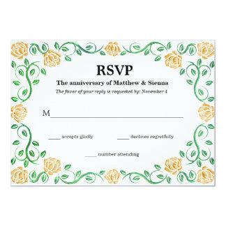 Swirls yellow roses 13 cm x 18 cm invitation card