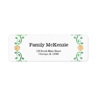 Swirls yellow roses return address label