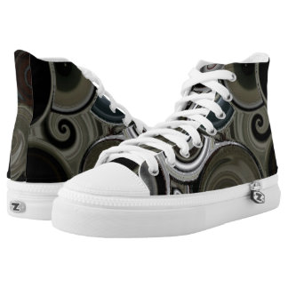 SWIRLY ART HIGH TOP TENNIS SHOES PRINTED SHOES