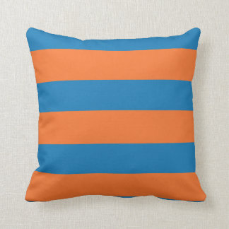 Swirly Dots and Stripes in Orange and Blue Throw Cushion