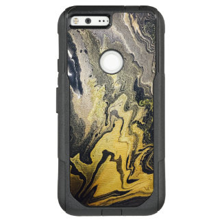 Swirly Marble Paint in Gold and Black OtterBox Commuter Google Pixel XL Case