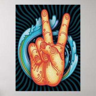 Swirly Peace Hand Poster