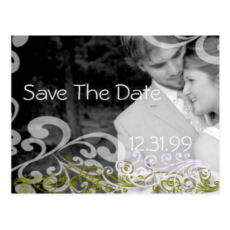 Swirly Photo Save The Date Postcard