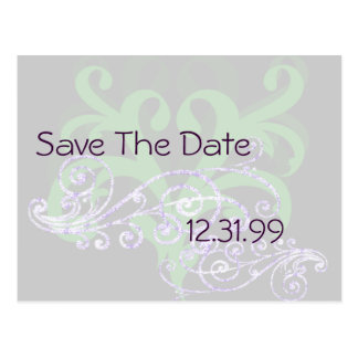 Swirly Purple & Green Save The Date Postcard