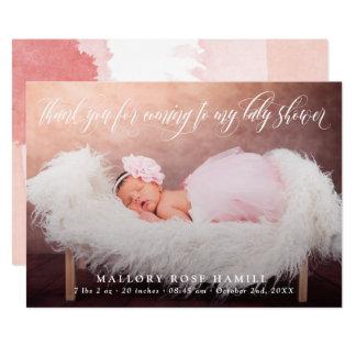 Swirly Script Overlay Photo Thank You Baby Shower Card