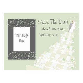 Swirly Wedding Save The Date Postcard