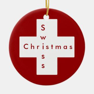 Swiss cross christmas ornament