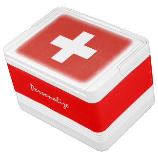 Swiss flag can cooler box | Switzerland cross Chilly Bin