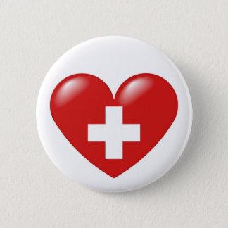 Swiss heart button- Schweizer Herz - Coeur suisse 6 Cm Round Badge