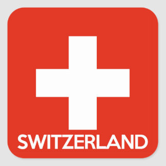 Switzerland country flag symbol name text swiss square sticker