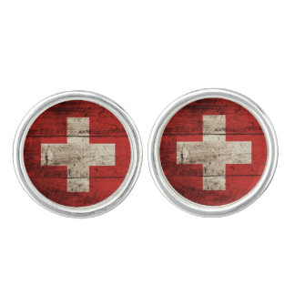 Switzerland Flag on Old Wood Grain Cufflinks