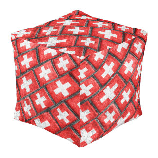 Switzerland Flag Urban Grunge Pattern Pouf