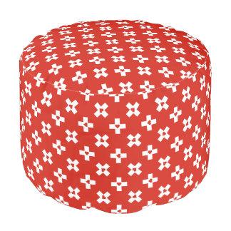 Switzerland Flag with  Heart pattern Pouf