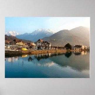 Switzerland Interlaken Mountains and river Poster