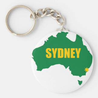 Sydney Green and Gold Map Key Ring
