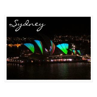 sydney opera vivid green postcards
