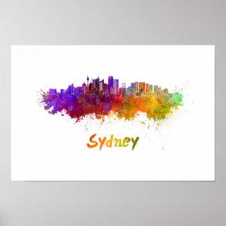 Sydney v2 skyline in watercolor poster