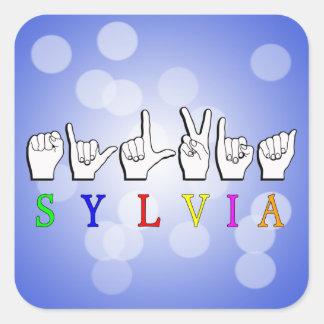 SYLVIA FINGERSPELLED ASL NAME SIGN SQUARE STICKER