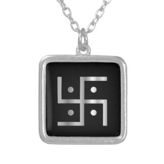 Symbol of Hinduism Swastika Silver Plated Necklace