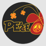 Symbol Peace Of Sign Butterfly Round Sticker
