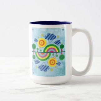Symmetrical Landscape mug blue