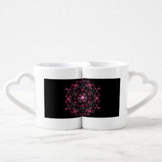 Symmetrical Ruby Kaleidoscope Coffee Mug Set