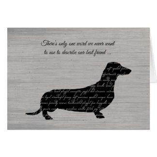 Sympathy, Loss of Dog, Dachshund Word Collage Greeting Card