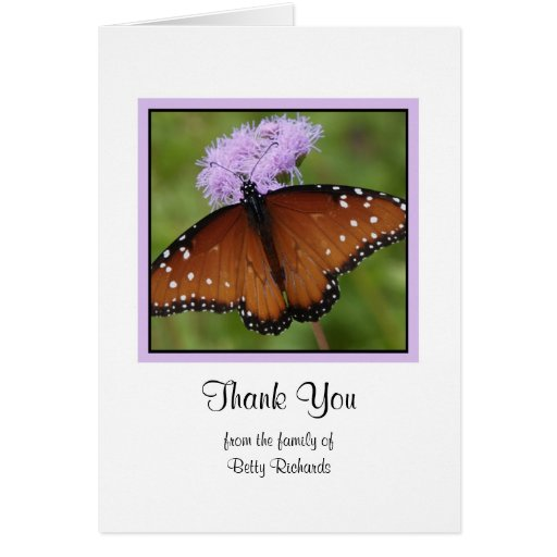 Sympathy Memorial Thank You Note Card - Butterfly